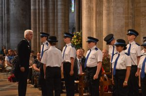 Deputy Chief Constable Alec Wood inspecting the cadets