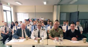 (L-R):  Sir Graham Bright, PC Tim Mann from Metropolitan Police, Major Graham Mawe from Cambridgeshire Army Cadets and Deputy Chief Constable Mark Hopkins